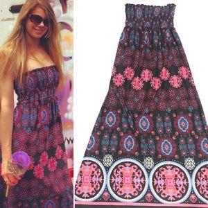 OP • Strapless Boho Maxi Dress